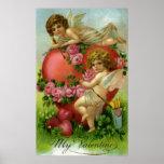 Vintage Victorian Valentines Day Angels Heart Rose Poster