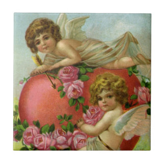 Vintage Victorian Valentines Day Angels Heart Rose Small Square Tile