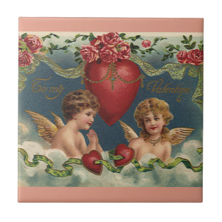 Vintage Victorian Valentine's Day Angels in Heaven Tile