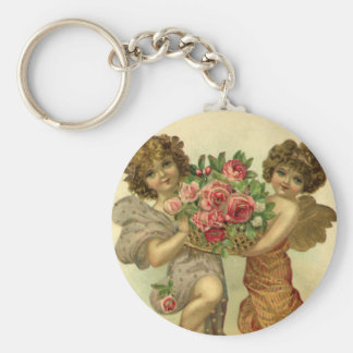 Vintage Victorian Valentine's Day, Angels Roses Basic Round Button Key Ring