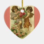 Vintage Victorian Valentine's Day, Angels Roses Ceramic Heart Decoration