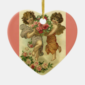 Vintage Victorian Valentine's Day, Angels Roses Christmas Ornament