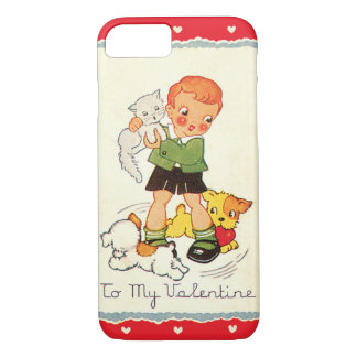 Vintage Victorian Valentines Day Boy, Cat and Dogs iPhone 7 Case