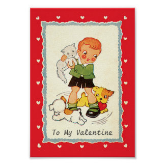 Vintage Victorian Valentines Day Boy, Cat and Dogs Poster