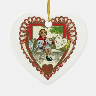 Vintage Victorian Valentine's Day, Boy in Heart Ceramic Heart Decoration