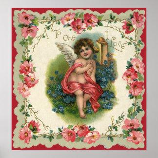 Vintage Victorian Valentine's Day, Cherub on Phone Poster