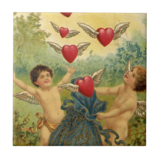 Vintage Victorian Valentine's Day, Cherubs Hearts Small Square Tile