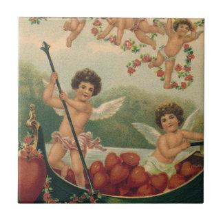 Vintage Victorian Valentine's Day, Cherubs in Boat Tile