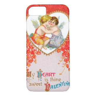 Vintage Victorian Valentines Day, Cherubs in Heart iPhone 7 Case