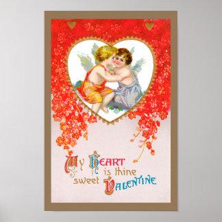 Vintage Victorian Valentines Day, Cherubs in Heart Poster