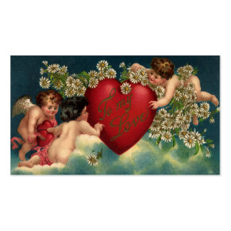 Vintage Victorian Valentines Day Cherubs on Clouds Pack Of Standard Business Cards