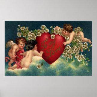Vintage Victorian Valentines Day Cherubs on Clouds Poster