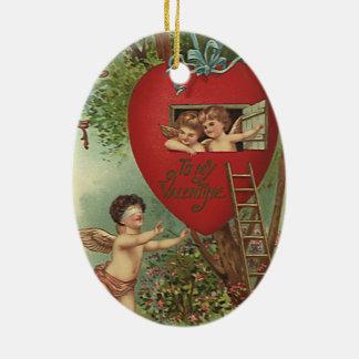 Vintage Victorian Valentines Day Cherubs Treehouse Ceramic Oval Decoration