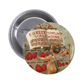 Vintage Victorian Valentines Day, Cupid and Hearts 6 Cm Round Badge