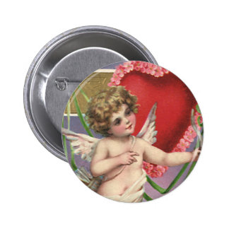 Vintage Victorian Valentine's Day Cupid with Heart 6 Cm Round Badge