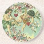 Vintage Victorian Valentines Day Cupids Heart Tree Beverage Coaster