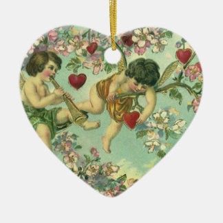 Vintage Victorian Valentines Day Cupids Heart Tree Christmas Ornament