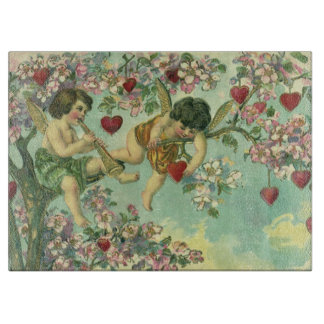 Vintage Victorian Valentines Day Cupids Heart Tree Cutting Board