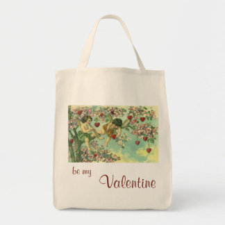 Vintage Victorian Valentines Day Cupids Heart Tree Grocery Tote Bag
