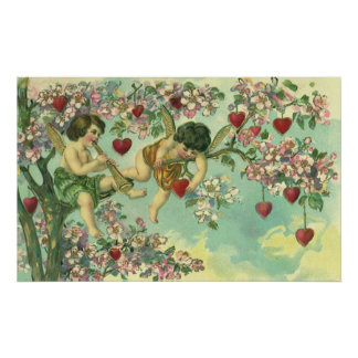 Vintage Victorian Valentines Day Cupids Heart Tree Poster