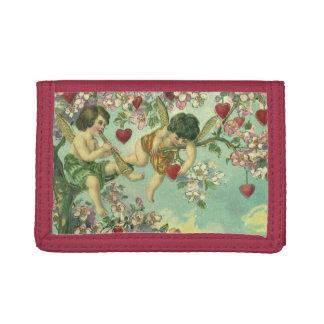 Vintage Victorian Valentines Day Cupids Heart Tree Tri-fold Wallet