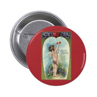 Vintage Victorian Valentine's Day, Cupid's Message 6 Cm Round Badge