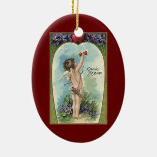 Vintage Victorian Valentine's Day, Cupid's Message Ceramic Oval Decoration