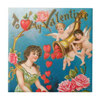 Vintage Victorian Valentine's Day, Girl and Angels Small Square Tile