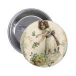 Vintage Victorian Valentine's Day, Girl with Roses 6 Cm Round Badge