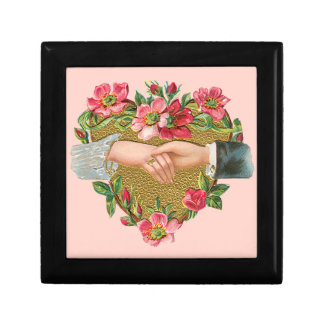 Vintage Victorian Valentine's Day, Hands w Flowers Small Square Gift Box