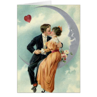 Vintage Victorian Valentine's Day Kiss on the Moon Card