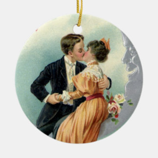 Vintage Victorian Valentine's Day Kiss on the Moon Christmas Ornament
