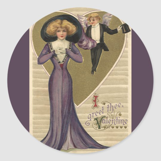 Vintage Victorian Valentine's Day, Lady in Purple Classic Round Sticker