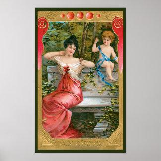 Vintage Victorian Valentines Day, Lady with Cherub Poster