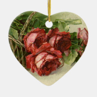 Vintage Victorian Valentine's Day, Red Roses Ceramic Heart Decoration