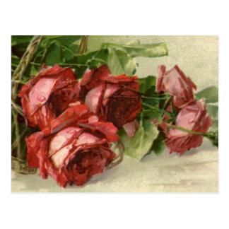 Vintage Victorian Valentine's Day, Red Roses Postcard