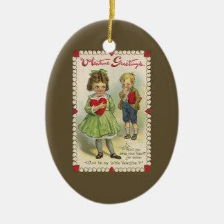 Vintage Victorian Valentine's Day, Shy Children Ceramic Oval Decoration