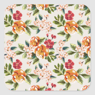 Vintage Victorian Watercolor Floral Pattern Square Sticker