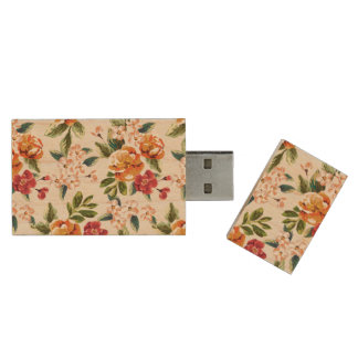Vintage Victorian Watercolor Floral Pattern Wood USB Flash Drive