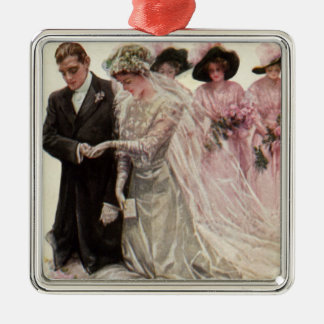 Vintage Victorian Wedding Ceremony Bride and Groom Christmas Ornament