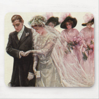 Vintage Victorian Wedding Ceremony Bride and Groom Mouse Mat