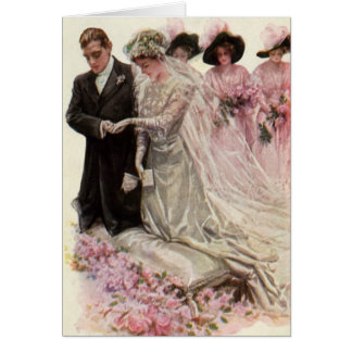 Vintage Victorian Wedding Ceremony, Bride Groom Greeting Card