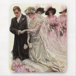Vintage Victorian Wedding Ceremony, Bride Groom Mouse Pad