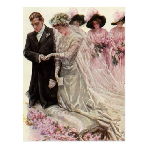 Vintage Victorian Wedding Ceremony, Bride Groom Postcard
