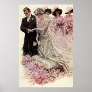Vintage Victorian Wedding Ceremony Bride Groom Posters