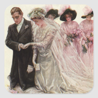 Vintage Victorian Wedding Ceremony, Bride Groom Square Sticker