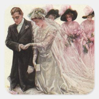 Vintage Victorian Wedding Ceremony, Bride Groom Square Sticker
