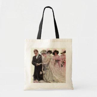 Vintage Victorian Wedding Ceremony, Bride Groom Budget Tote Bag