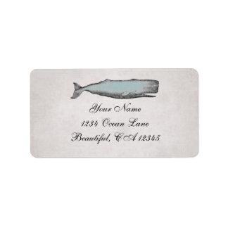 Vintage Victorian Whale Beach Address Label