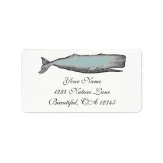 Vintage Victorian Whale Black, White Beach Address Address Label